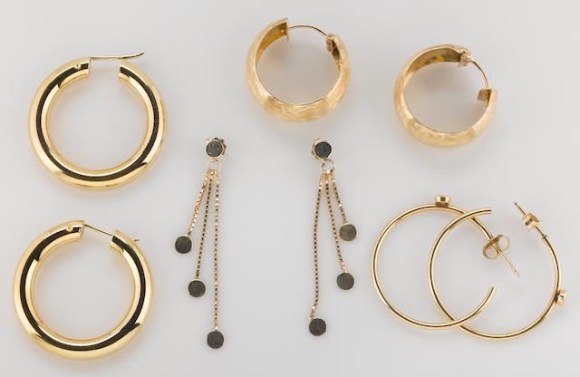 A collection of 4 pairs of diamond, 18k and 14k gold earrings