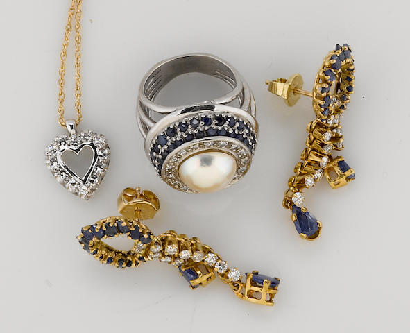 a collection of sapphire, diamond, cultured pearl, 14k yellow gold, and 18k white gold jewelry (3 pieces)