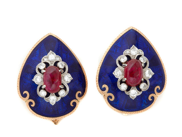 A pair of enamel, ruby and diamond earclips