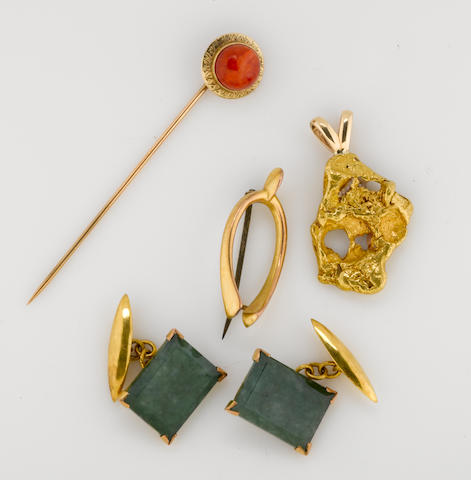 a collection of gem-set, 10k, 9k, and gold nugget jewelry, including a pendant, a pair of cufflinks, and 2 pins