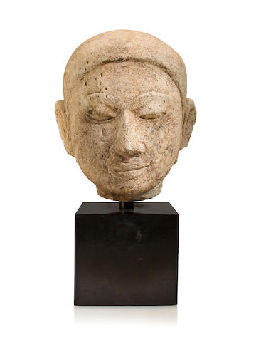 A stucco head of a monk Mon-Dvaravati, Thailand,  circa 9th century