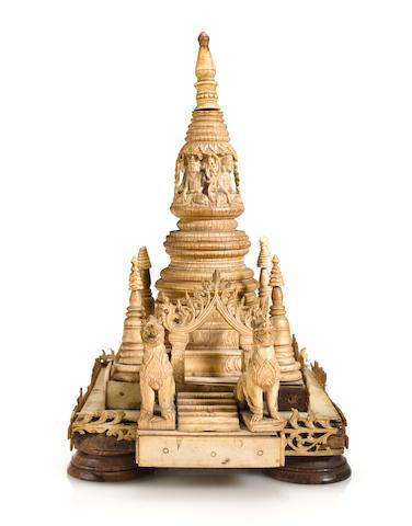 An ivory miniature stupa complex Burma 17th/18th century