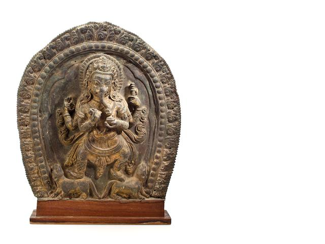 Ganesha, copper alloy repousse, Nepal, 18th century