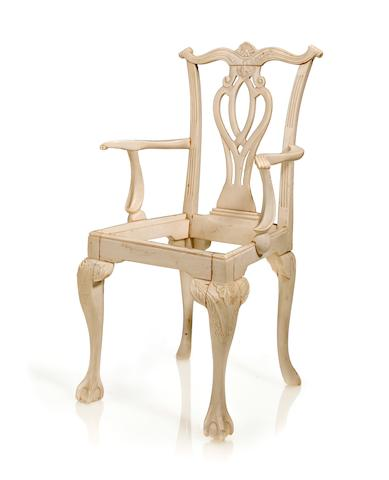 Miniature Chippendale style chair Ivory Nth. India Late 18th century