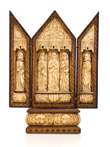An ivory and wood miniature triptych Goa or Sri Lanka, 18th century