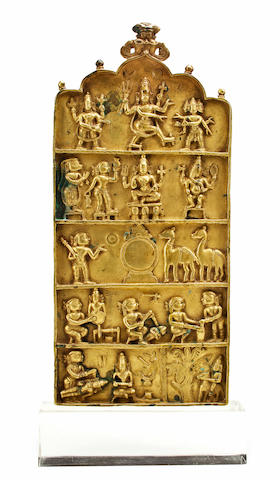 A brass devotional plaque Tamil Nadu, 17th/18th century