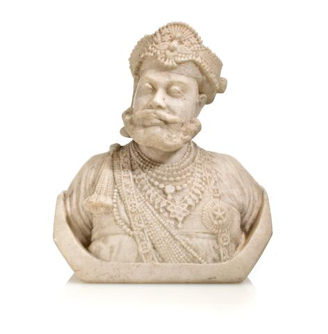 Bust of a Maharaja Marble Nth India 19th century