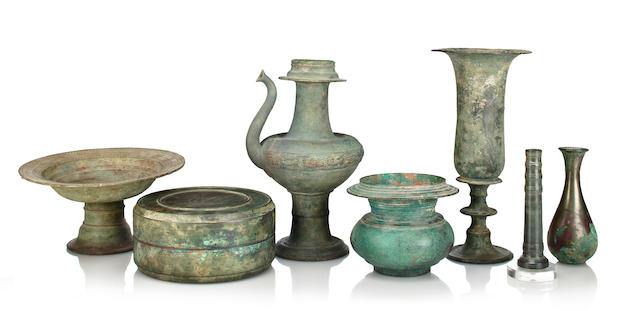 Seven early bronze vessels Southeast Asia, 7th - 15th century