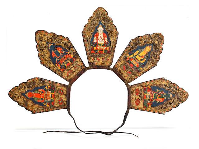 Tibetan Five-panel Ritual Crown, 14th/15th century, gilt-tooled leather