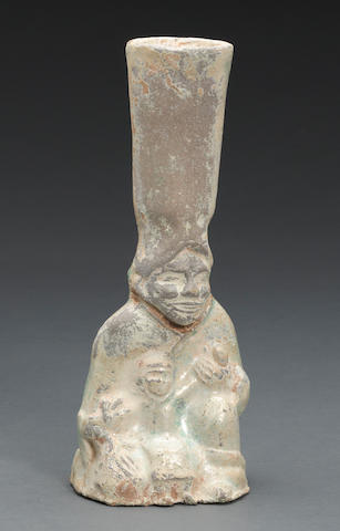 A group of three green glazed pottery funerary models Han dynasty
