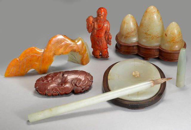 A group of jade and amber decorations