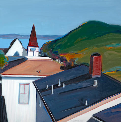 Gregory Kondos (American, born 1923) Bay View (Pacific Grove, California), 2001 30 x 30in (76.2 x 76.2cm)