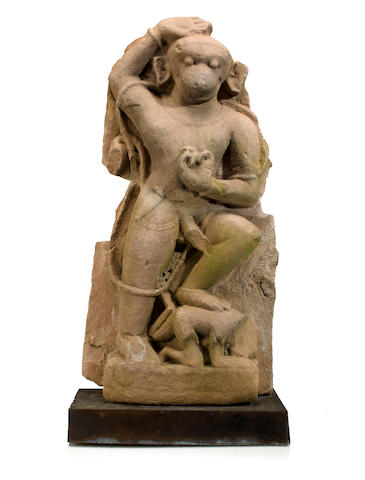 A red sandstone figure of Hanuman Rajasthan, 13th/14th century