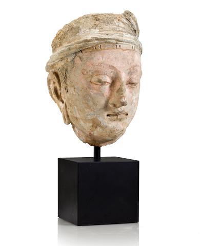 A polychrome clay head of a Bodhisattva Gandhara, 4th/5th Century
