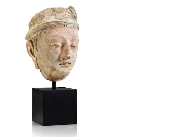 Polychrome Clay Head of a Bodhisattva, Gandhara, 4th/5th Century