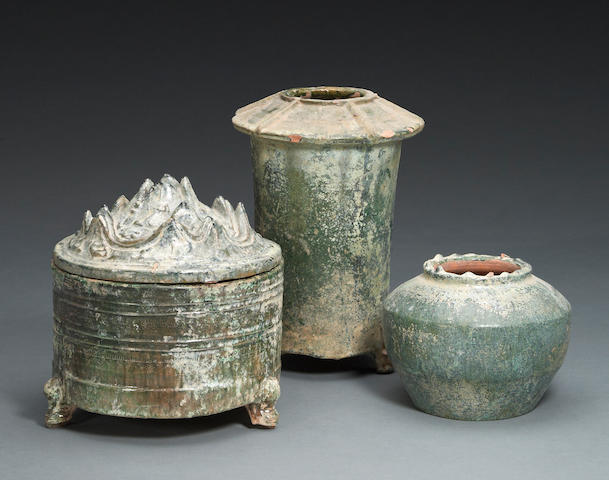 A group of three Chinese iridescent glazed pottery vessels Han Dynasty