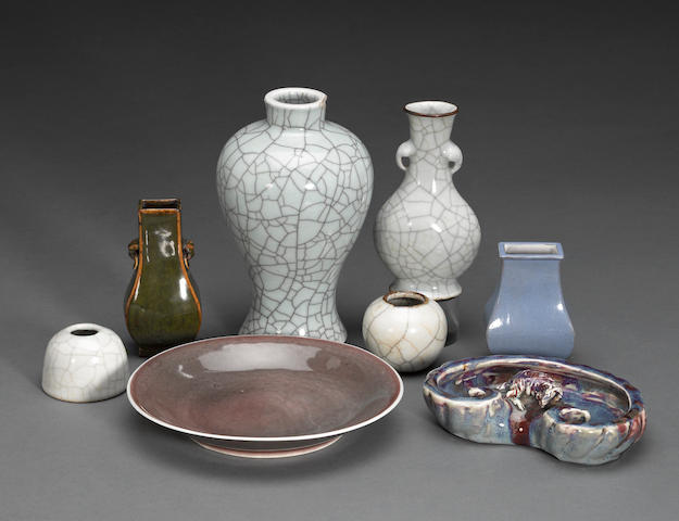 A group of eight monochrome glazed porcelain containers Late Qing/Republic period