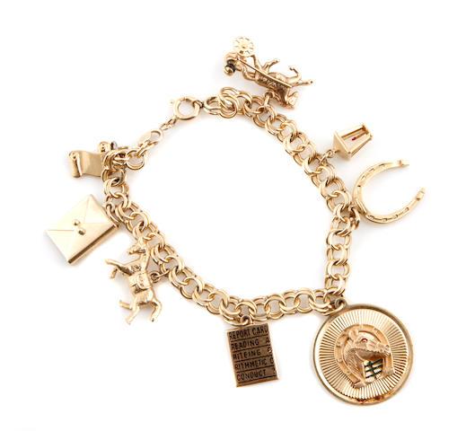 A gold charm bracelet