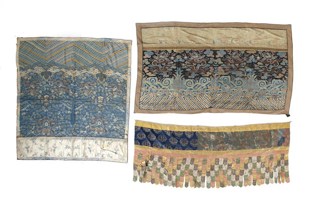 A group of three polychrome silk hangings Late Qing dynasty