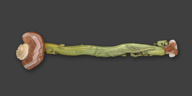 A tinted ivory and hardstone ruyi scepter Late Qing/Republic period