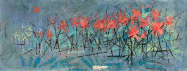 George Campbell R.H.A. (Irish, 1917-1979) Field of red flowers (Flower Scene) 12 x 30in