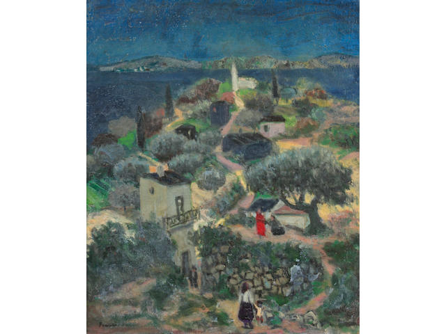 Francis Smith (Portuguese, 1881-1961) Figures in a hillside village scene 21 1/2 x 18 1/4in