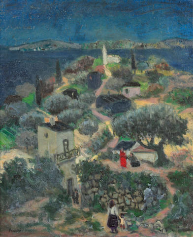 Francis Smith (Portuguese, 1881-1961) Figures in a hillside village scene 21 1/2 x 18 1/4in