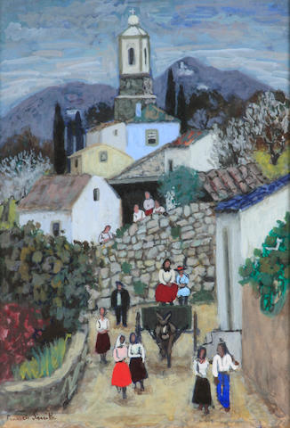 Francis Smith (Portuguese, 1881-1961) A Portuguese village scene with figures 13 x 9 1/2in