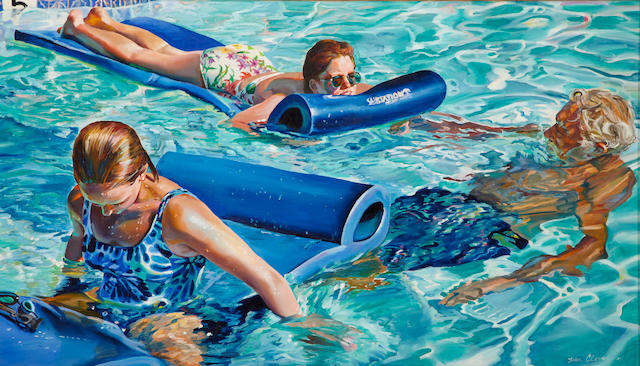 Susan Clover (American, born 1944) Family in a pool, 1995 34 x 60in