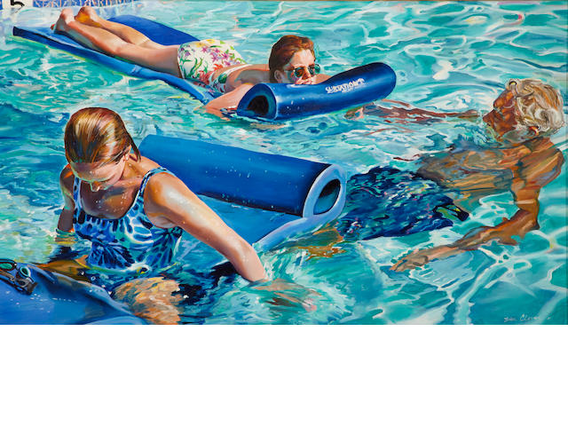 Susan Clover, Three generations floating, o/c, 34 x 60in, 1995
