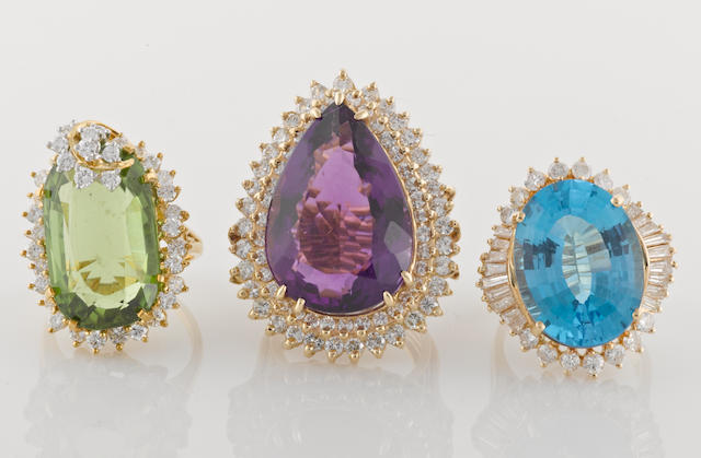A group of three gem-set, diamond, 18k (1) and 14k (2) gold rings, 51.1g