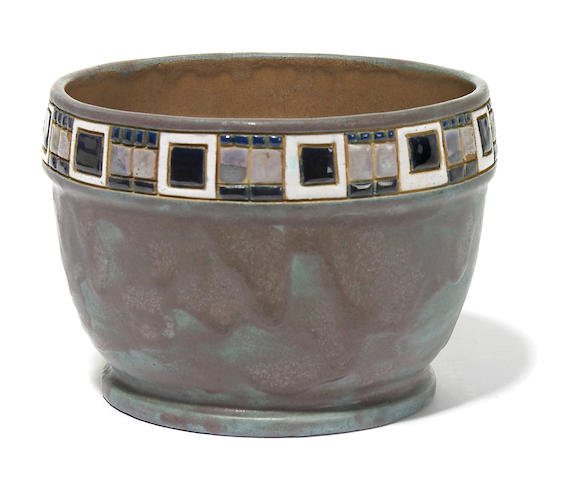 A Frederick Hurten Rhead enamel decorated glazed earthenware cache pot Santa Barbara, early 20th century