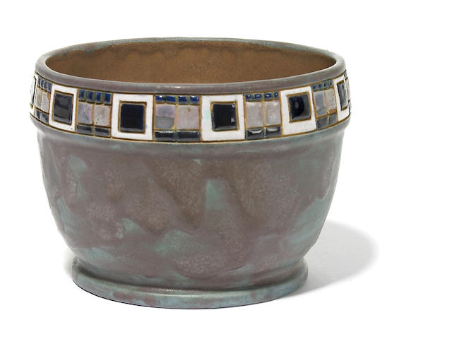 A Frederick Hurten Rhead enamel decorated and inlaid pottery bowl