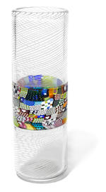 A Richard Marquis glass Crazy Quilt banded cylinder