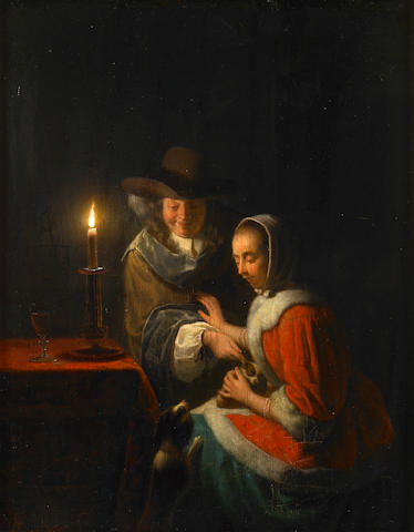 Manner of Godfried Schalcken, Candlelight with Figures
