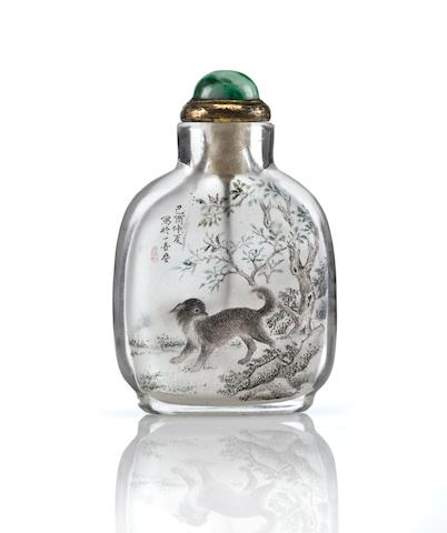 An inside painted rock crystal snuff bottle  Attributed to Wang Xisan, yiyou 1969