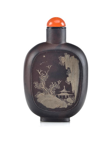 An extremely rare slip decorated Yixing snuff bottle  Qianlong mark, 1770-1795