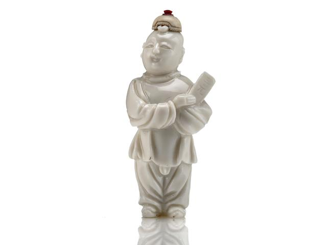 An incredibly rare Dehua ware figural snuff bottle 1750-1850