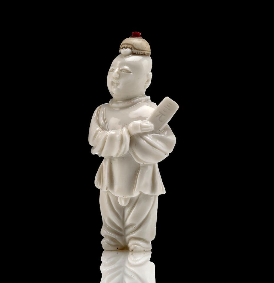 An incredibly rare Dehua ware figural snuff bottle 1750-1850