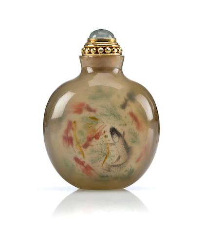 An inside-painted agate snuff bottle Meng Zishou, dated 1909