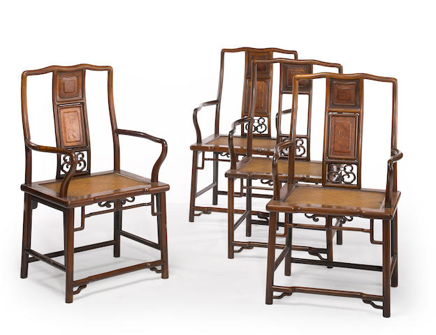 A set of four hardwood armchairs (damaged)