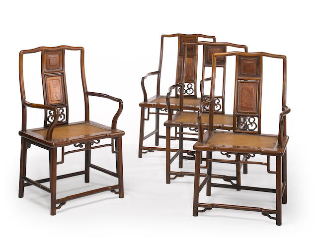 A set of four hardwood armchairs 20th century