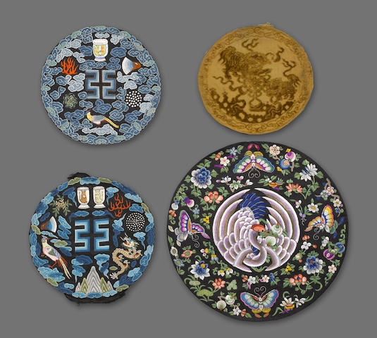 A group of seventeen embroidered or brocade silk panels and rank badges 19th century and later