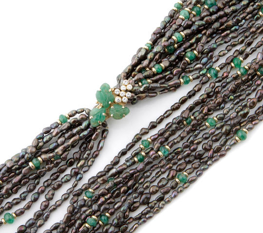 A collection of eleven seed, cultured pearl and greenstone bead strands