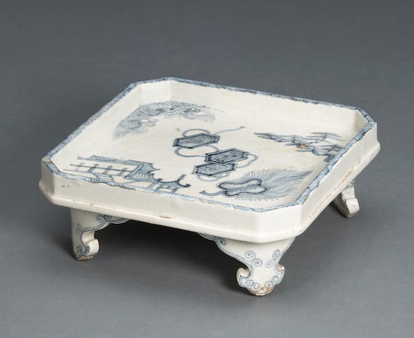 A Korean blue and white porcelain footed offering dish