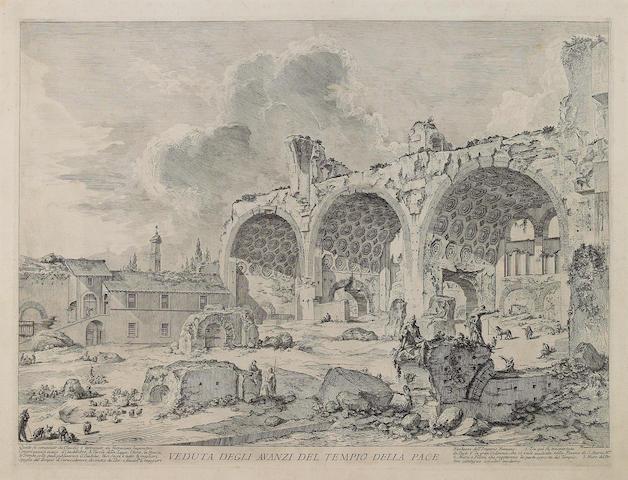 Giovanni Battista Piranesi (Italian, 1720-1778); Veduta degli avanzi del tempio della pace..., from Vedute di Roma;