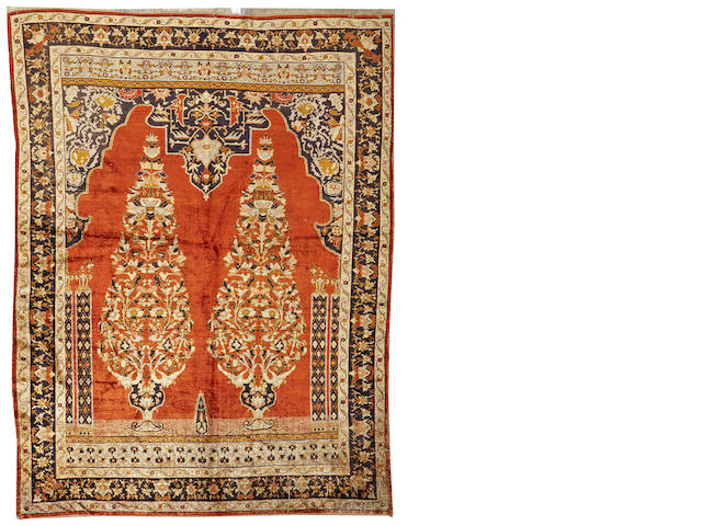A Silk Tabriz rug Northwest Persia size approximately 4ft. 5in. x 6ft.