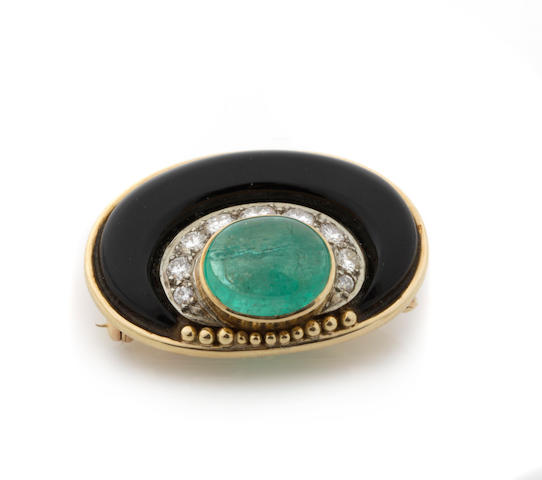 An emerald, diamond, black onyx and gold brooch