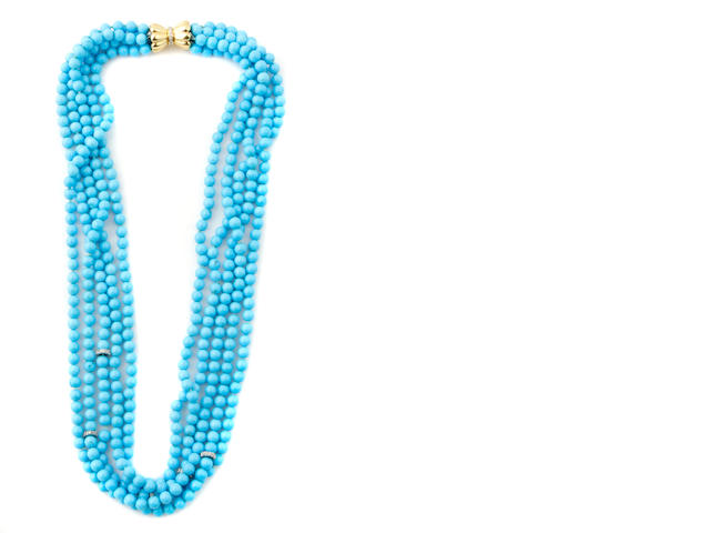 A five strand turquoise bead and diamond necklace