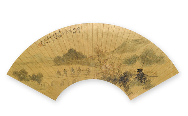 Attributed to Ren Yu (1853-1901) Landscape with Figures, ink and color on gold flecked paper, folding fan leaf no framed and glazed